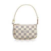 LV Women Shopping Leather Tote Louis Vuitton Damier Azur Canvas Mini Pochette Accessoires N58010 Made in France