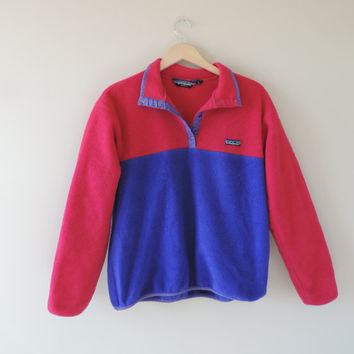 Vintage Patagonia Fleece Pullover Pink and Blue // Size Kids 13/14 Large // Adult XS