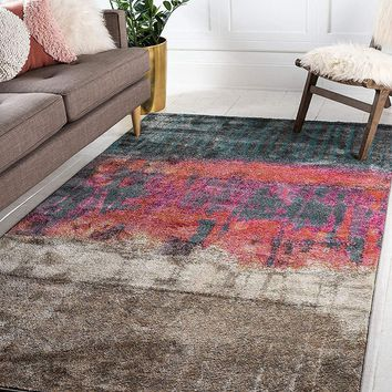 0147 Multi Color Over-Dyed Abstract Contemporary Area Rugs