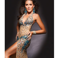 Jasz Couture 2014 Prom - Nude & Turquoise Sexy Rhinestoned Prom Gown