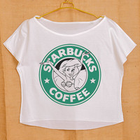 Starbucks Coffee Logo Little Mermaid Pop Indie Punk Rock Tattoo Vintage Lady Women Fashion T shirt Wide Crop Top Free Size