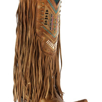 Corral Honey Crystal Pattern Fringe Boots C2910