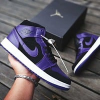 Air Jordan 1 Fashionable Women Men High Help Sport Shoes Sneakers(Black&Purple)