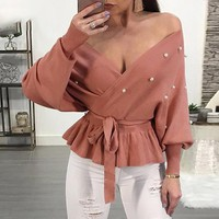 8DESS Sexy off shoulder pearl peplum top pullover sweater Women vintage knitted casual jumper pullover
