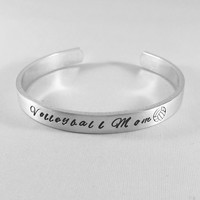 Volleyball Mom Hand Stamped Bracelet - Gift for Mom - Volleyball Season - Mother's Day - School Pride -  Volleyball Team - Sports Mom - kg99