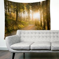 Woods Trees Sunlight Forest Path Boho Wanderlust Unique Dorm Home Decor Wall Art Tapestry
