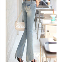 Korean Style Brand Women's Flare Leg Jeans Femme Womens Embellished Bell Bottom Slim Skinny Jeans Woman Formal Work Pants