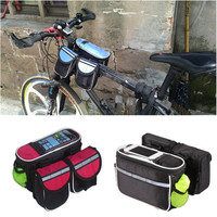 Outdoor Cycling Sport Double nylon bag Black carry bags Bicycle Bike Front Tube Bag
