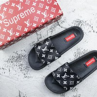 Supreme x LV 14ss Black SLIDE SANDALS - 35-44