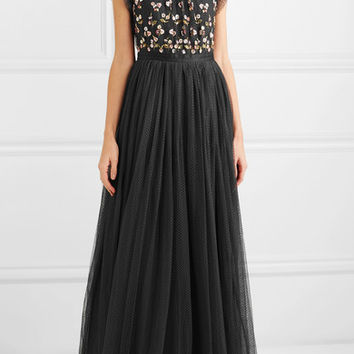 Needle & Thread - Rococo sequined point d'esprit and embroidered tulle gown