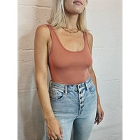Scoop Neck Thong Bodysuit - Rust
