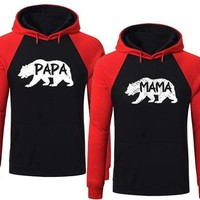 BOLD Bear Family Hoodie for Mama Bear & Papa Bear Back / Red Pullover Sweater