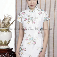 Short-sleeve Floral Embroidery Mini Cheongsam Dress (White) [WQPDDX-SY-A029-wht] ?