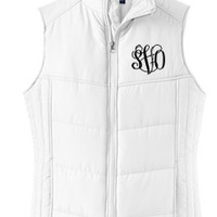 Monogrammed White Puffy Vest | Preppy Outerwear | Marley Lilly