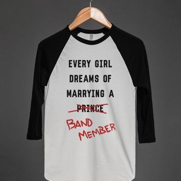 Marry a Band Member-Unisex White/Black T-Shirt