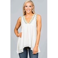 Ivory Embroidered Babydoll Sleeveless Top