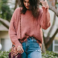 Distressed Fuzzy Knit Sweater