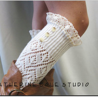 lace leg warmers ivory knit / womens diamond knit  great with cowboy combat boots by Catherine Cole Studio legwarmers open work