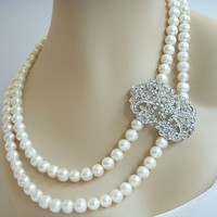 Wedding Bridal Jewelry, Pearl Necklace, Victorian Rhinestone Brooch, Vintage Statement Necklace