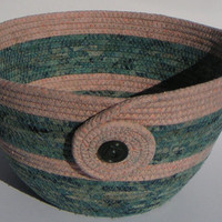 Coiled Fabric Basket, Coiled Fabric Bowl, decorative bowl, teal/peach