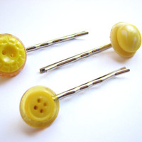 Sunny Yellow Bobby Pins, Vintage Button Hair Pins