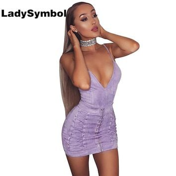 LadySymbol Lace Up Strap Short Bodycon Dress Women Deep V Neck Harness Suede Dress Autumn Fitness Casual Sexy Club Party Dresses