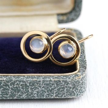 Genuine Moonstone Earrings - Mid Century 1950s Era 10k Rosy Yellow Gold Screw Backs - Vintage Adularescence 1.72 CTW Gemstones Fine Jewelry