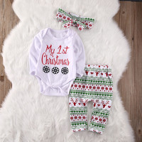 Newborn Baby Girl Clothes Long Sleeve Tops Bodysuits Pants Headband 3PCS Clothing Baby Girls Outfits Set