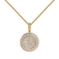 """Iced Out Medallion Design Pendant Simulated Diamonds 14k Yellow Gold Tone 24"""" Chain"""