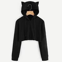 Autumn 2018 Harajuku Crop Top Sweatshirt Hoodies Women Streetwear Cute Ear Kpop Hoodie Cropped Tumblr Korean Style Woman Clothes