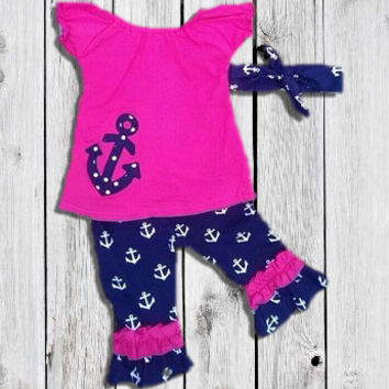 Baby Girl's Outfit, Yellow Navy Anchor, Aztec Arrow Ruffled Capri Pants, Toddler Girl Outfit, Kids Clothes, Children's Clothing, 12M To 8-9Y
