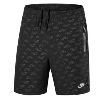 NIKE New fashion embroidery letter hook more letter print shorts men Black