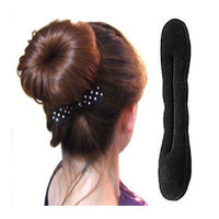 Solid Black Nylon Sponge Donut Hair Accesory Quick Messy Bun