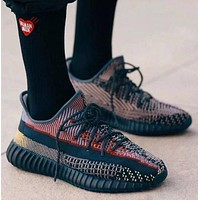 Adidas Yeezy 350 black and red stitching men and women wide sneakers shoes