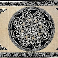 """SS07404 - India Arts Tapestry ~ Celtic Beige Circle ~ Double 68"""" X 102"""" ~ 100% Cotton"""