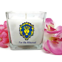 World of Warcraft, WoW Gift, Alliance Candle, For The Alliance, Gamer Candle, Unique Gift, Personalized Candle, Custom Candle, Geek Gift