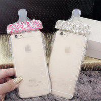 Crystal Feeder TPU Phone Case Free Phone Neck Straps for iphone6 6s plus for iphone 6 6s
