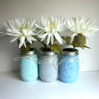 Set of 3 rustic shabby chic blue, grey, and aqua mason jars