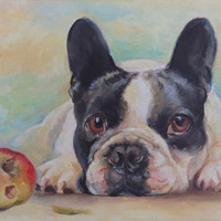 Dog portrait, FRENCH BULLDOG PORTRAIT, Original Art, Hand painted pet portrait, Canvas oil painting, Contemporary, Framed, Living room