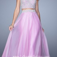 Strapless Two Piece Lace Bodice Prom Dresses By La Femme