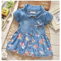 2018 New Fashion Cotton Children Kids Clothing Denim Jeans Short Sleeves Baby Girls Princess Flora Dress 0-4 Years