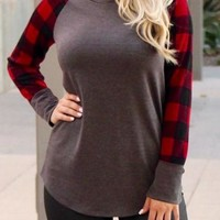 Red Black Plaid Sleeve Taupe Top