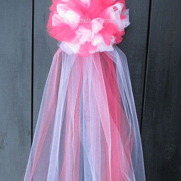 Two Color Tulle Wedding Pew Bow