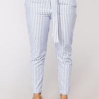 Nadia Striped Pants - Blue