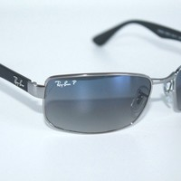 Ray Ban Active Polarized Sunglasses RB3478 004/78 Gunmetal W/ Blue Gradient Lens