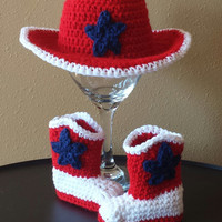Crochet Infant Cowboy / Cowgirl Hat and Boots