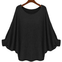 Batwing Sleeve Flounced Pullover Sweater