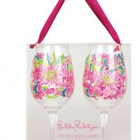 Lilly Pulitzer - Acrylic Wine Glass Set of 2 - Trippin and Sippin