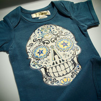 Dark Teal Toddler Clothes Skull Tattoo baby grows Bodysuit. Worn in look short sleeve fall creeper one-piece Trendy Kid 9, 12, 18, 24 months
