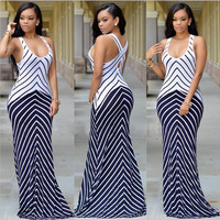 Blue and White Chevron Cross-Back Maxi Dress